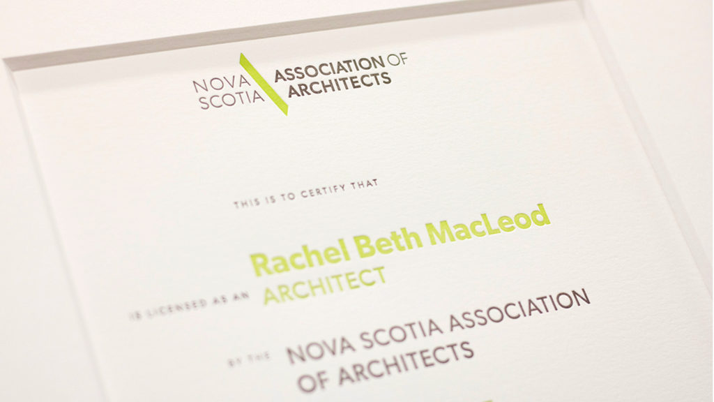 Newly-licensed architects certificate